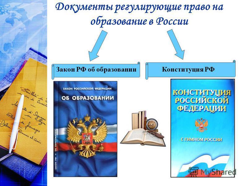 Документы регулирующие право на образование в России Закон РФ об образовании Конституция РФ