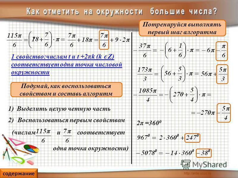 Подумай, как воспользоваться свойством и составь алгоритм Потренируйся выполнять первый шаг алгоритма 1)Выделить целую четную часть 1 свойство:числам t и t +2πk (k Z) соответствует одна точка числовой окружности Воспользоваться первым свойством 2) (ч
