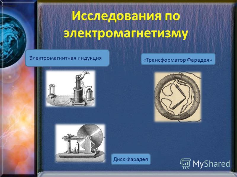 Исследования по электромагнетизму Электромагнитная индукция «Трансформатор Фарадея» Диск Фарадея