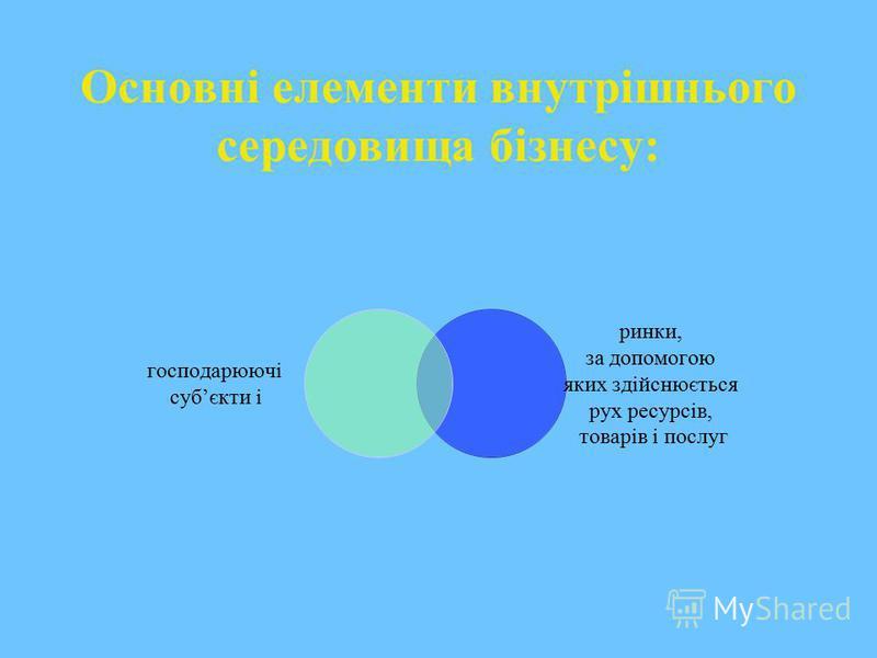 Основні елементи внутрішнього середовища бізнесу: господарюючі субєкти і ринки, за допомогою яких здійснюється рух ресурсів, товарів і послуг