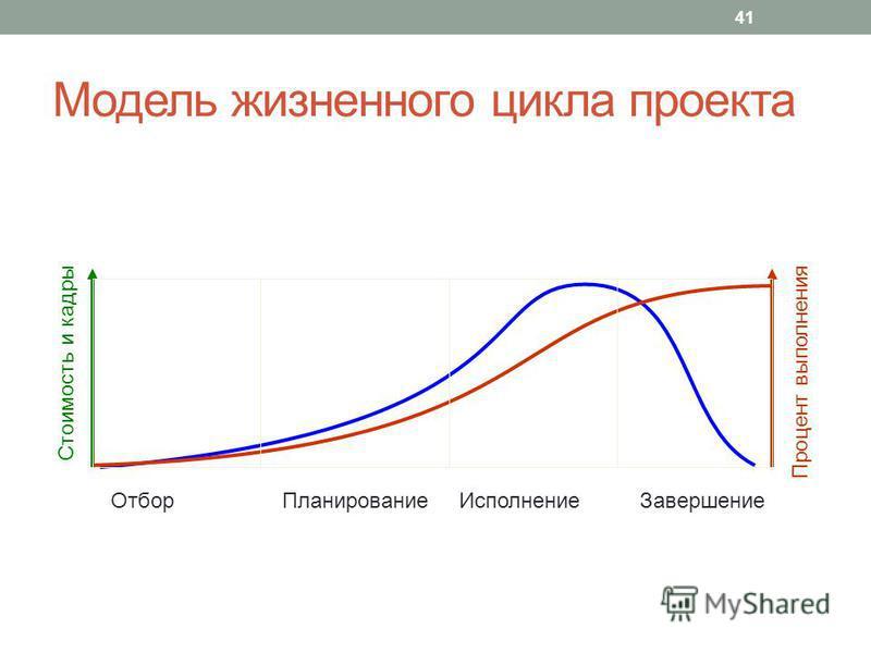 Модель жизненного цикла проекта Отбор Планирование Исполнение Завершение Процент выполнения Стоимость и кадры 41