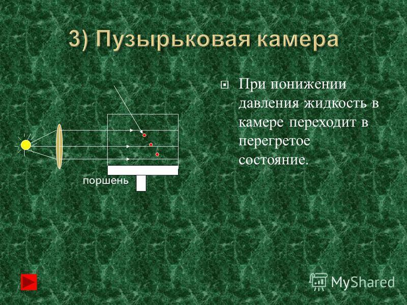 При понижении давления жидкость в камере переходит в перегретое состояние. поршень