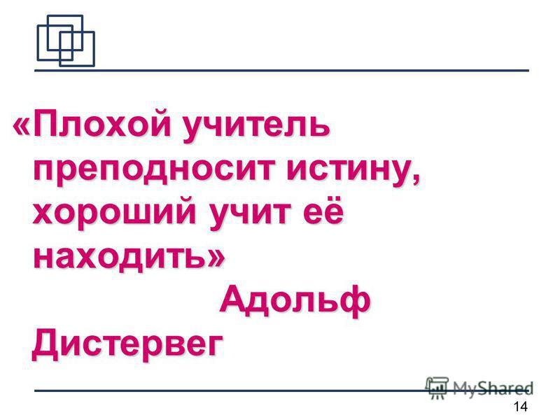 14 «Плохой учитель преподносит истину, хороший учит её находить» Адольф Дистервег