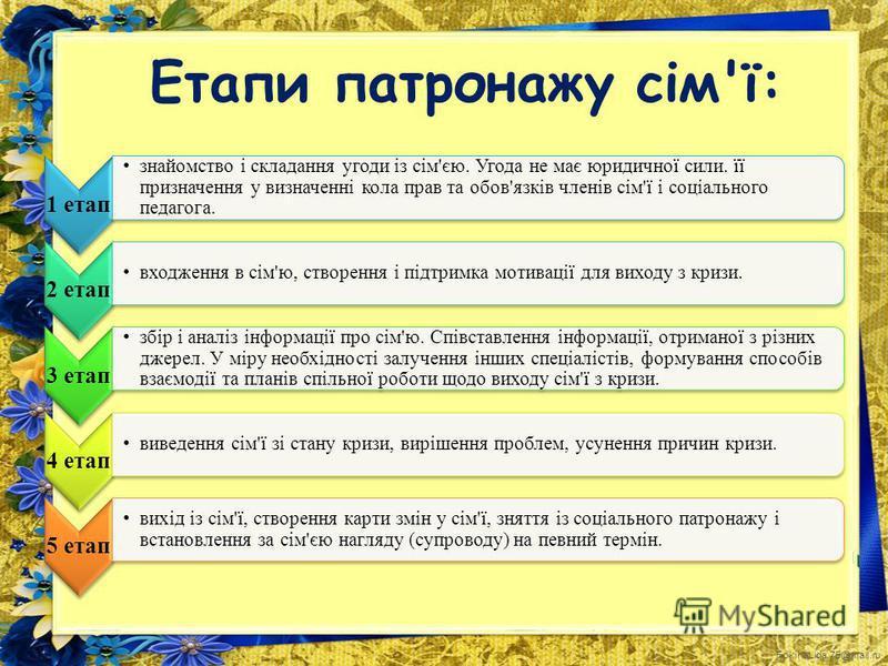 FokinaLida.75@mail.ru Етапи патронажу сім'ї: 1 етап знайомство і складання угоди із сім'єю. Угода не має юридичної сили. її призначення у визначенні кола прав та обов'язків членів сім'ї і соціального педагога. 2 етап входження в сім'ю, створення і пі