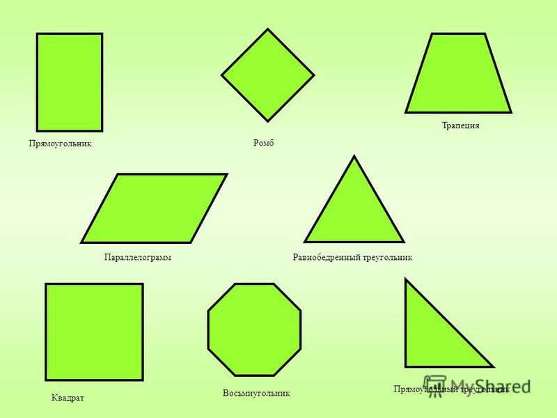 Прямоугольник Параллелограмм Квадрат Ромб Равнобедренный треугольник Восьмиугольник Трапеция Прямоугольный треугольник