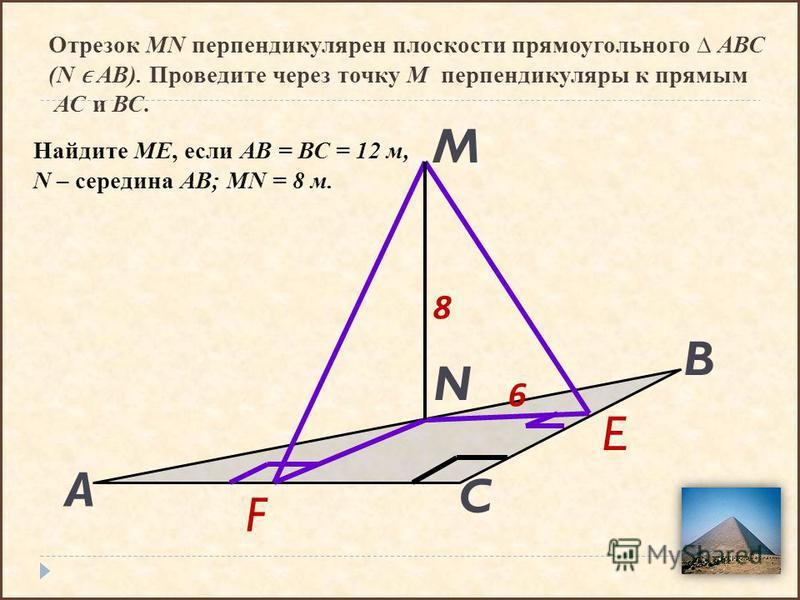 Отрезок MN перпендикулярен плоскости прямоугольного АВС (N ϵ AB). Проведите через точку М перпендикуляры к прямым АС и ВС. C B A M N E F Найдите МЕ, если АВ = ВС = 12 м, N – середина АВ; MN = 8 м. 6 8