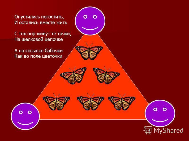 Опустились погостить, И остались вместе жить С тех пор живут те точки, На шелковой цепочке А на косынке бабочки Как во поле цветочки