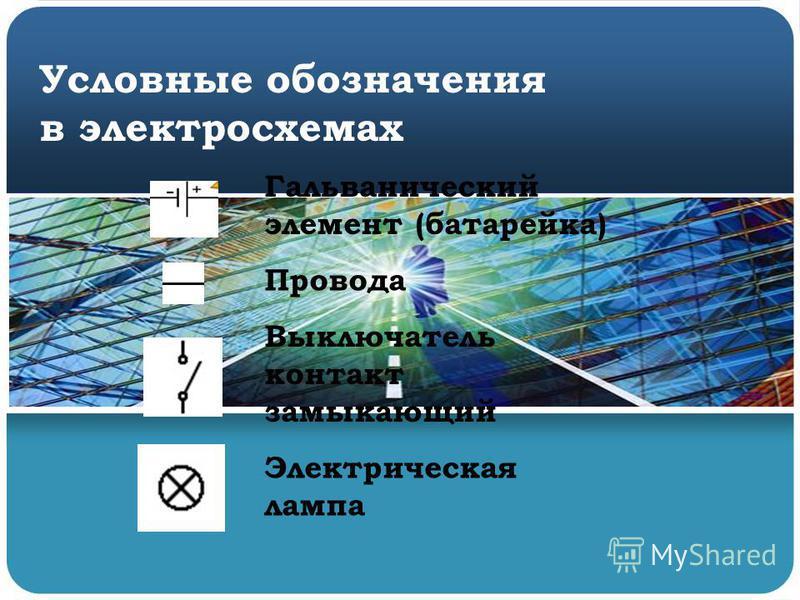 Условные обозначения в электросхемах Гальванический элемент (батарейка) Провода Выключатель контакт замыкающий Электрическая лампа