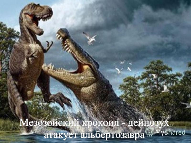 Мезозойский крокодил - дейнозух атакует альбертозавра