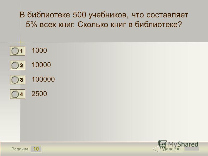 10 Задание В библиотеке 500 учебников, что составляет 5% всех книг. Сколько книг в библиотеке? 1000 10000 100000 2500 Далее 1 0 2 1 3 0 4 0