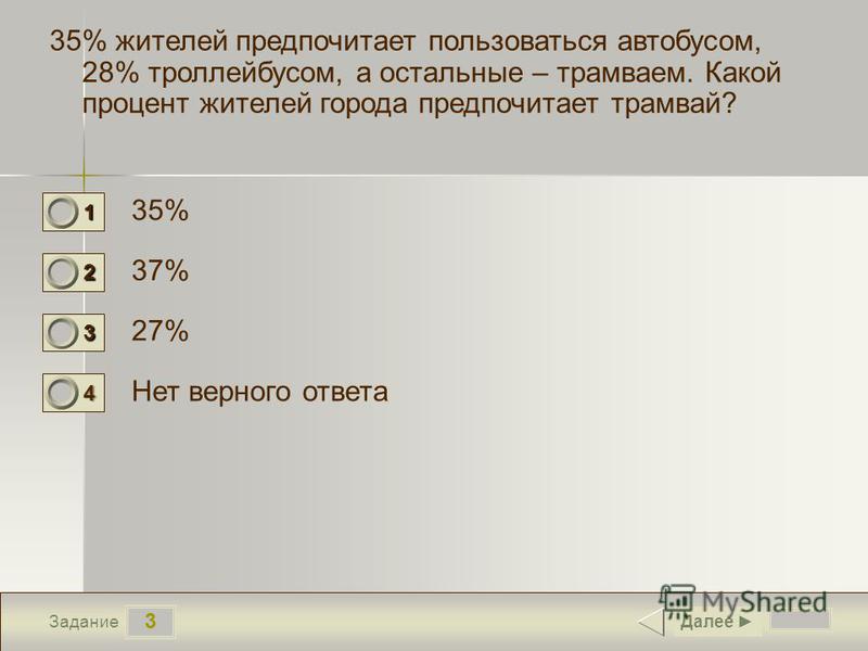 3 Задание 35% жителей предпочитает пользоваться автобусом, 28% троллейбусом, а остальные – трамваем. Какой процент жителей города предпочитает трамвай? 35% 37% 27% Нет верного ответа Далее 1 0 2 1 3 0 4 0