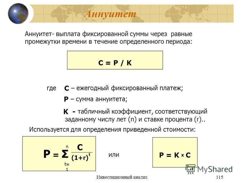 Инвестиционный анализ 115 Аннуитет Аннуитет- выплата фиксированной суммы через равные промежутки времени в течение определенного периода: С = Р / K где С – ежегодный фиксированный платеж; Р – сумма аннуитета; K - табличный коэффициент, соответствующи
