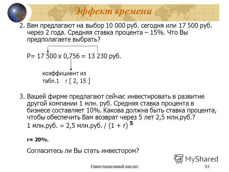 Инвестиционный анализ 93 Эффект времени 2. Вам предлагают на выбор 10 000 руб. сегодня или 17 500 руб. через 2 года. Средняя ставка процента – 15%. Что Вы предполагаете выбрать? P= 17 500 х 0,756 = 13 230 руб. коэффициент из табл.1r [ 2, 15 ] 3. Ваше