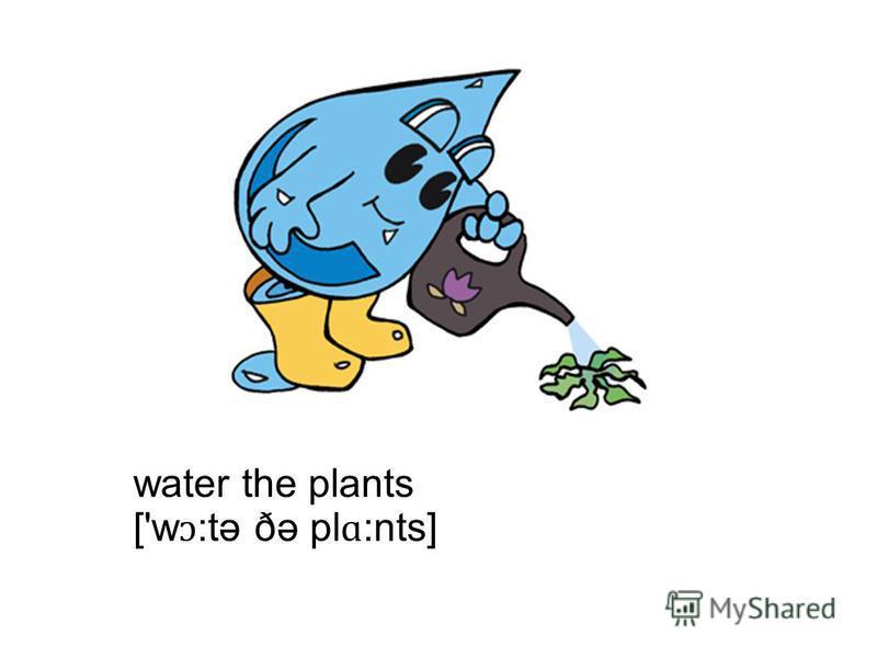 water the plants ['w ɔ :tə ðə pl ɑ :nts]