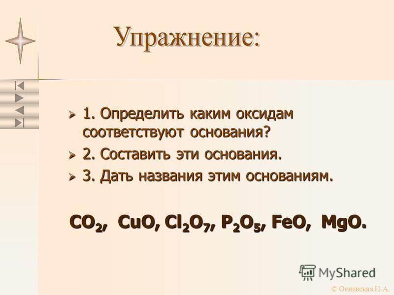 1. Определить каким оксидам соответствуют основания? 1. Определить каким оксидам соответствуют основания? 2. Составить эти основания. 2. Составить эти основания. 3. Дать названия этим основаниям. 3. Дать названия этим основаниям. CO 2, CuO, Cl 2 O 7,