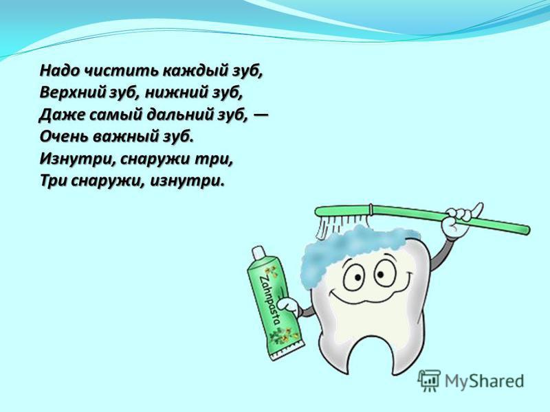 Надо чистить каждый зуб, Верхний зуб, нижний зуб, Даже самый дальний зуб, Очень важный зуб. Изнутри, снаружи три, Три снаружи, изнутри. Надо чистить каждый зуб, Верхний зуб, нижний зуб, Даже самый дальний зуб, Очень важный зуб. Изнутри, снаружи три,