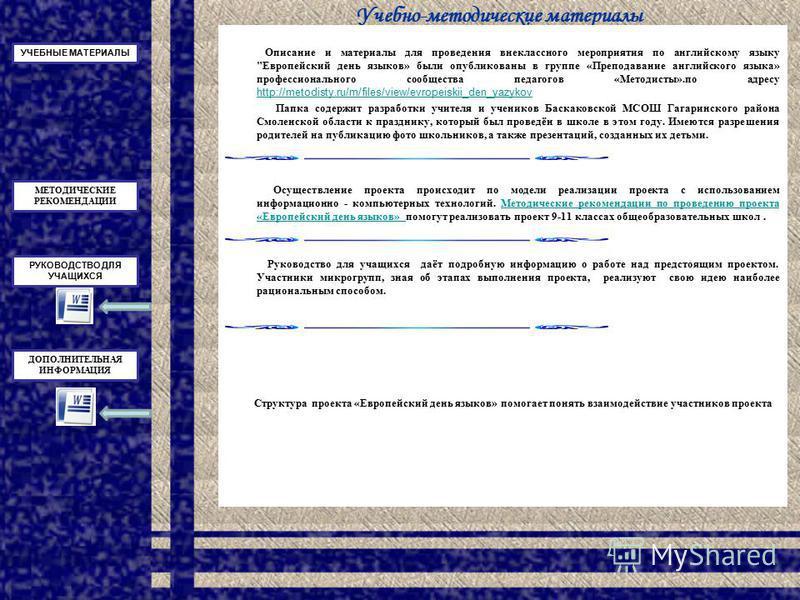 Учебно-методические материалы Описание и материалы для проведения внеклассного мероприятия по английскому языку