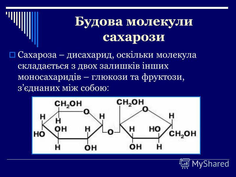 Будова молекули сахарози Сахароза – дисахарид, оскільки молекула складається з двох залишків інших моносахаридів – глюкози та фруктози, зєднаних між собою :