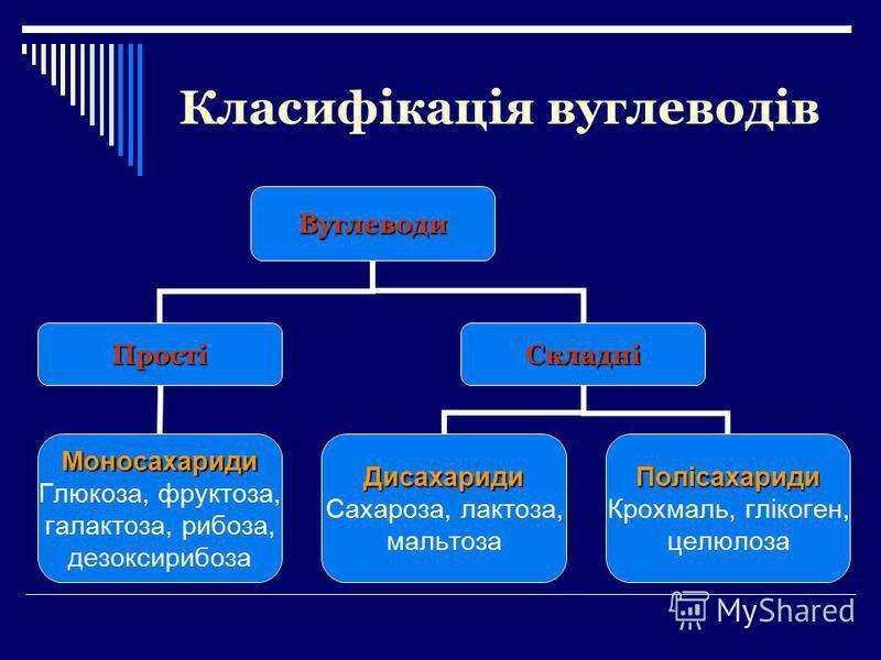 Класифікація вуглеводівВуглеводи Прості Моносахариди Глюкоза, фруктоза, галактоза, рибоза, дезоксирибоза Складні Дисахариди Сахароза, лактоза, мальтозаПолісахариди Крохмаль, глікоген, целюлоза