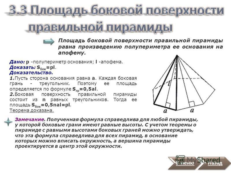 Назад В правильной n-угольной пирамиде: - боковые ребра равны; - боковые грани равные равнобедренные треугольники; - углы наклона боковых ребер к плоскости основания равны; - углы наклона боковых граней к плоскости основания равны; - апофемы равны.