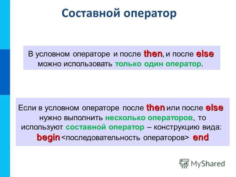 Составной оператор thenelse В условном операторе и после then, и после else можно использовать только один оператор. then else Если в условном операторе после then или после else нужно выполнить несколько операторов, то используют составной оператор