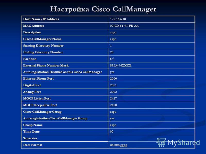 Настройка Cisco CallManager Host Name/IP Address 172.16.6.10 MAC Address 00-0D-61-91-FB-AA Descriptionaspu Cisco CallManager Name aspu Starting Directory Number 1 Ending Directory Number 20 PartitionC:\ External Phone Number Mask 8953476ХХХХ Auto-reg