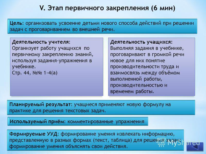 V. Этап первичного закрепления (6 мин) Деятельность учителя: Организует работу учащихся по первичному закреплению знаний, используя задания-упражнения в учебнике. Стр. 44, 1-4(а) Деятельность учащихся: Выполняя задания в учебнике, проговаривают в гро