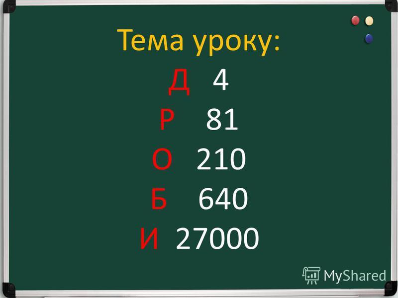 Поставте відповіді в порядку зростання чисел Р 6300 : 100 : 7 x 9 = 81 О 12000 : 4000 х 7 х 10 = 210 Б 720 : 90 x 10 x 8 = 640 И 90 x 30 : 100 x 1000 = 27000 Д 16 x 100 : 10:40 = 4