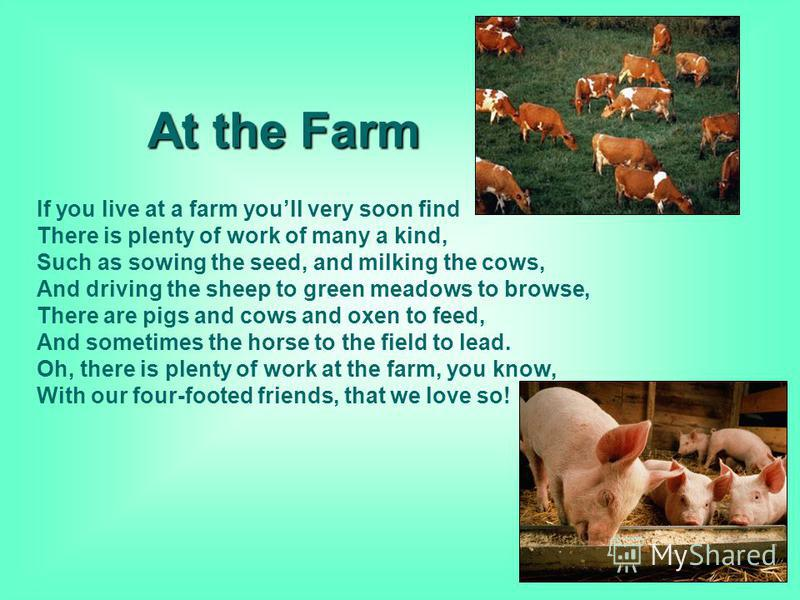 At the Farm If you live at a farm youll very soon find There is plenty of work of many a kind, Such as sowing the seed, and milking the cows, And driving the sheep to green meadows to browse, There are pigs and cows and oxen to feed, And sometimes th
