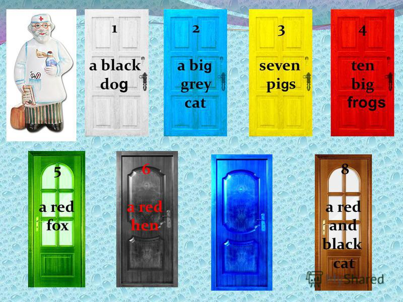 1 a black do g 2 a bi g grey cat 3 seven pi g s 4 ten big frogs 5 a red fox 6 a red hen 7 a grey rabbit 8 a red and black cat