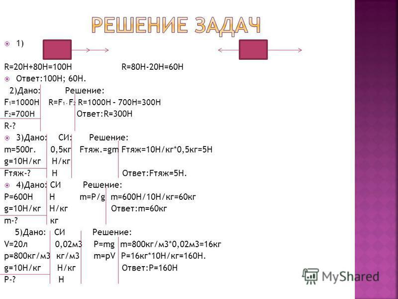 1) R=20H+80H=100H R=80H-20H=60H Ответ:100Н; 60H. 2)Дано: Решение: F 1 =1000H R=F 1 - F 2 R=1000H – 700H=300H F 2 =700H Ответ:R=300H R-? 3)Дано: СИ: Решение: m=500 г. 0,5 кг Fтяж.=gm Fтяж=10Н/кг*0,5 кг=5H g=10H/кг Н/кг Fтяж-? Н Ответ:Fтяж=5Н. 4)Дано: