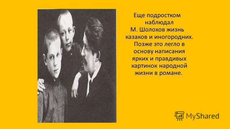 Еще подростком наблюдал М. Шолохов жизнь казаков и иногородних. Позже это легло в основу написания ярких и правдивых картинок народной жизни в романе.