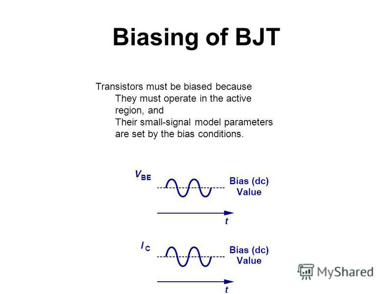 Biasing of BJT Transistors must be biased because They must operate in the active region, and Their small-signal model parameters are set by the bias conditions.