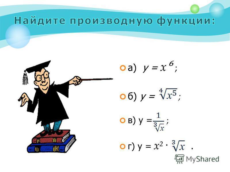 а) у = х ; б) у = ; в) у = ; г) у = х² ·.