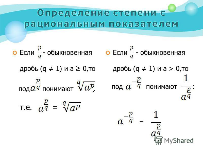 Если - обыкновенная дробь (q 1) и a 0,то под понимают, т.е. = Если - обыкновенная дробь (q 1) и a > 0,то под понимают : =