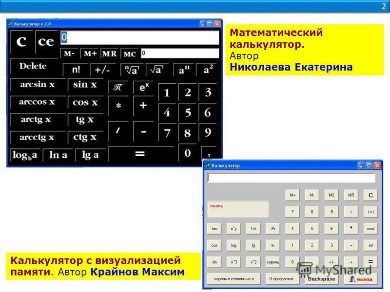 2 2 Калькулятор с визуализацией памяти. Автор Крайнов Максим Математический калькулятор. Автор Николаева Екатерина