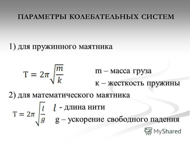 ПАРАМЕТРЫ КОЛЕБАТЕЛЬНЫХ СИСТЕМ 1) для пружинного маятника m – масса груза m – масса груза к – жесткость пружины к – жесткость пружины 2) для математического маятника - длина нити - длина нити g – ускорение свободного падения g – ускорение свободного
