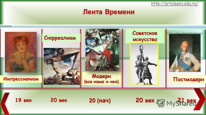 Лента Времени Импрессионизм 19 век 20 век Сюрреализм Модерн (все зимы и нео) Постмодерн 20 (нач) 20 век 21 век Советское искусство http://www.nikas-safronov.ru/ http://artclassic.edu.ru/