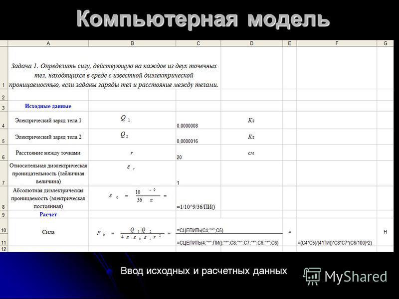 Компьютерная модель Ввод исходных и расчетных данных