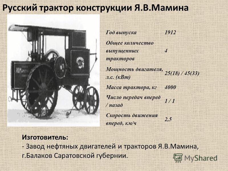 Русский трактор конструкции Я.В.Мамина Год выпуска 1912 Общее количество выпущенных тракторав 4 Мощность двигателя, л.с. (к Вт) 25(18) / 45(33) Масса трактора, кг 4000 Число передач вперед / назад 1 / 1 Скорость движения вперед, км/ч 2,5 Изготовитель