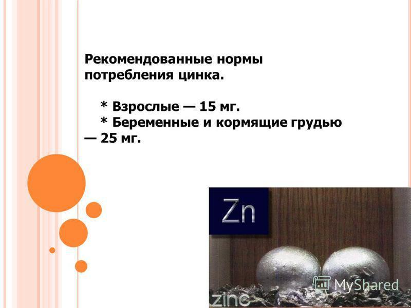 Рекомендованные нормы потребления цинка. * Взрослые 15 мг. * Беременные и кормящие грудью 25 мг.