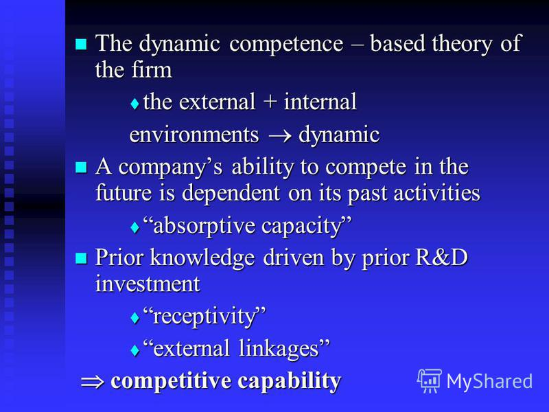 The dynamic competence – based theory of the firm The dynamic competence – based theory of the firm the external + internal the external + internal environments dynamic A companys ability to compete in the future is dependent on its past activities A