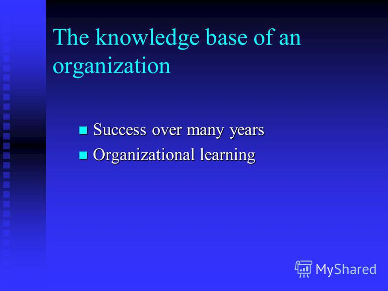 The knowledge base of an organization Success over many years Success over many years Organizational learning Organizational learning