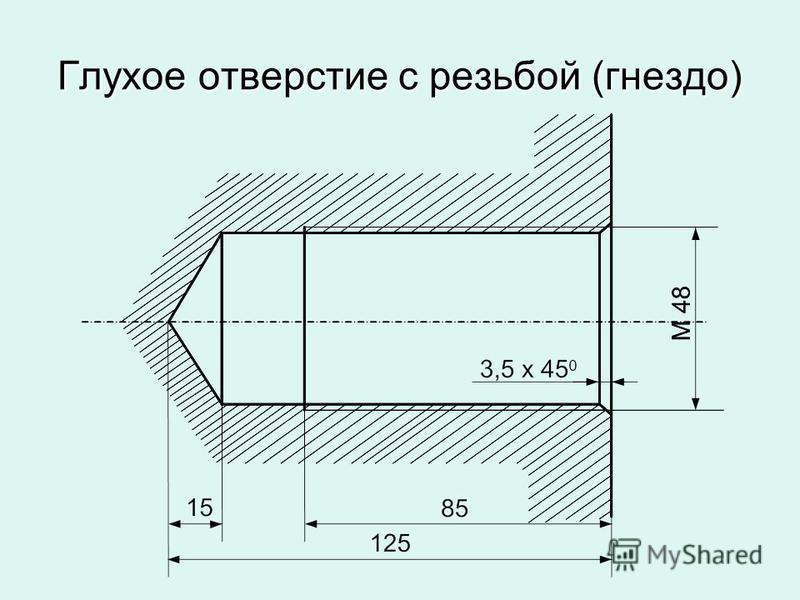 Глухое отверстие с резьбой (гнездо)