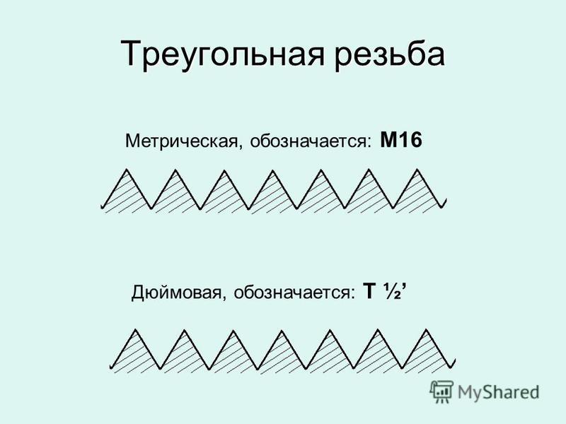 Треугольная резьба Метрическая, обозначается: М16 Дюймовая, обозначается: Т ½