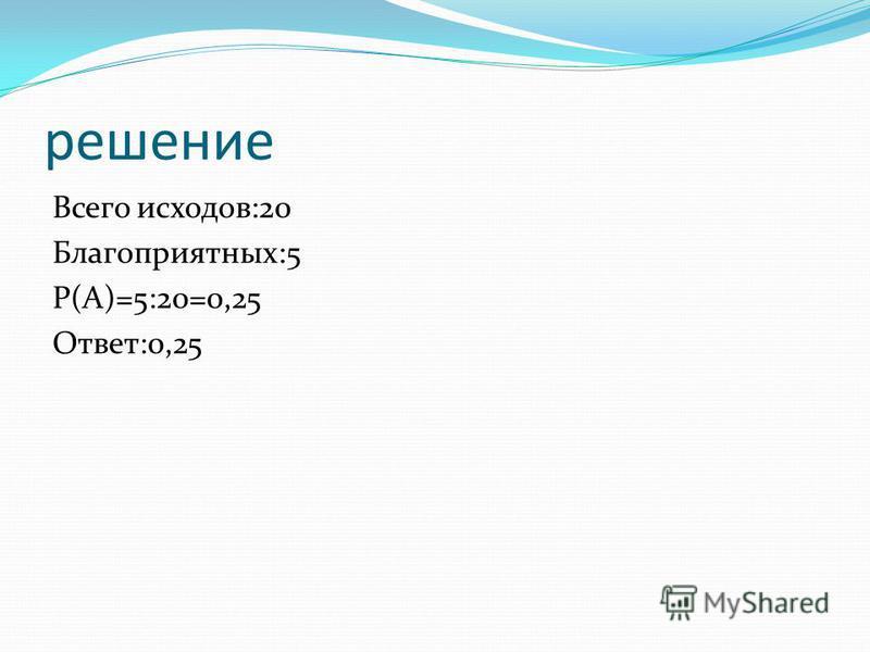 решение Всего исходов:20 Благоприятных:5 Р(А)=5:20=0,25 Ответ:0,25