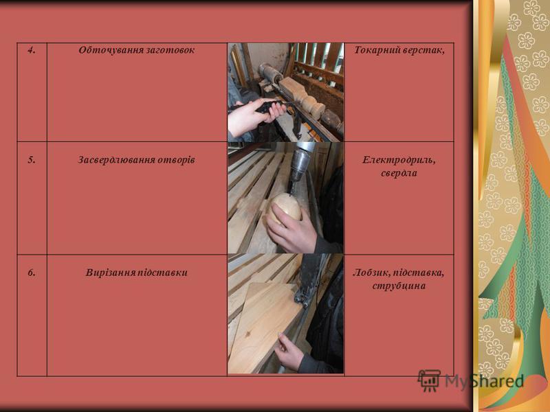 4.Обточування заготовокТокарний верстак, 5.Засвердлювання отворівЕлектродриль, свердла 6.Вирізання підставкиЛобзик, підставка, струбцина