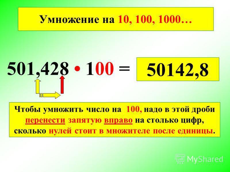Умножение на 10, 100, 1000… 501,428 100 = 50142,8 Чтобы умножить число на 100, надо в этой дроби перенести запятую вправо на столько цифр, сколько нулей стоит в множителе после единицы.