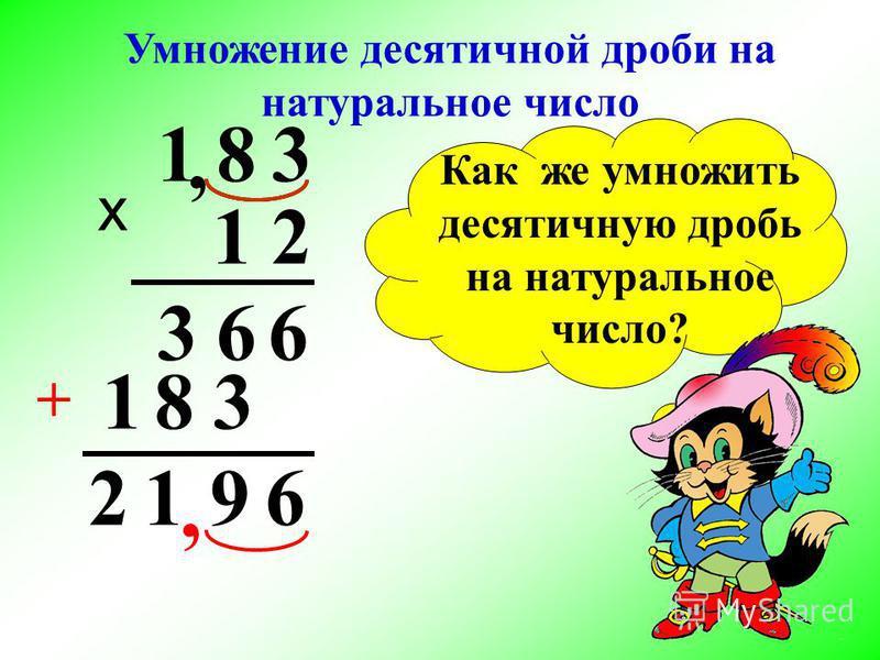 Умножение десятичной дроби на натуральное число х 381, 663, 21 381 6912 + Как же умножить десятичную дробь на натуральное число?