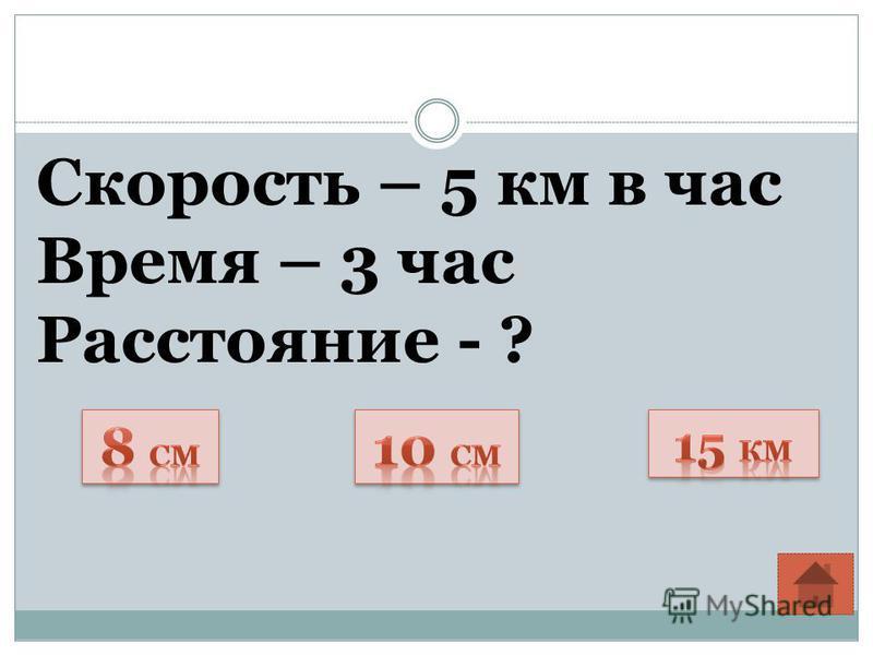 Скорость – 5 км в час Время – 3 час Расстояние - ?